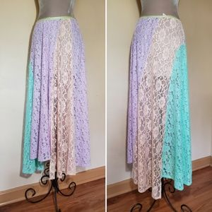 Free People Colorblock Lace Sheer Maxi Sweep Skirt